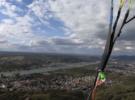 Красивые полеты недалеко от Бонна над рекой Рейн